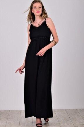 Womenice Kadın Siyah Güpür Detay İnce Askılı Krinkıl Elbise