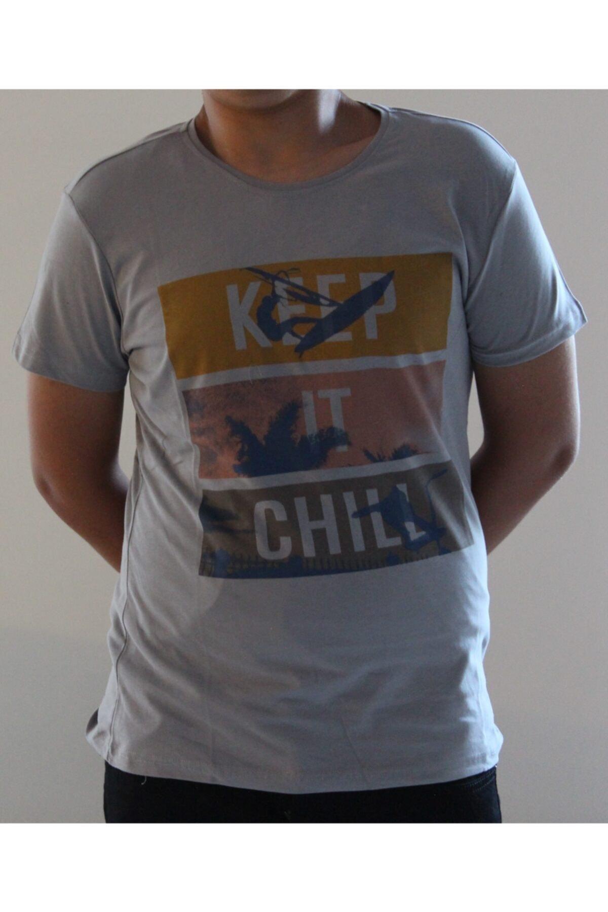 Lion Erkek Gri Bisiklet Yaka T-Shirt 2709 2