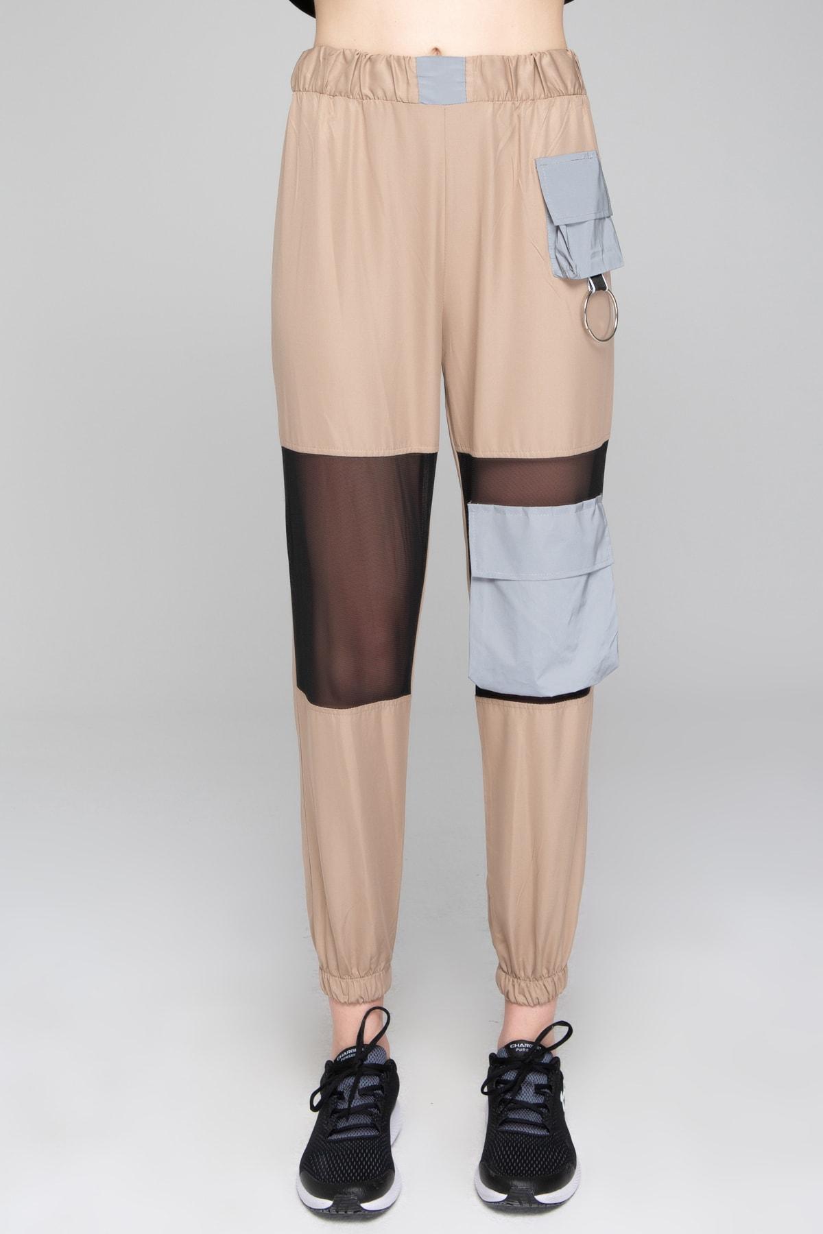 İzumi Sport Kadın Sütlü Kahve Reflöktör Tül Detaylı Pantolon 2