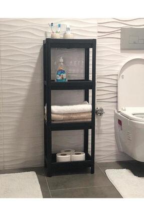 EARABUL 3 Katlı Siyah Bölmeli Banyo Salon Raf Düzenleyici
