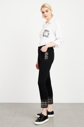 Moda İlgi Kadın Siyah Cebi Taşlı Pantolon