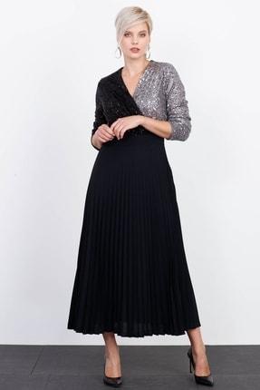 Moda İlgi Kadın Gri Pullu Pilisoley Elbise
