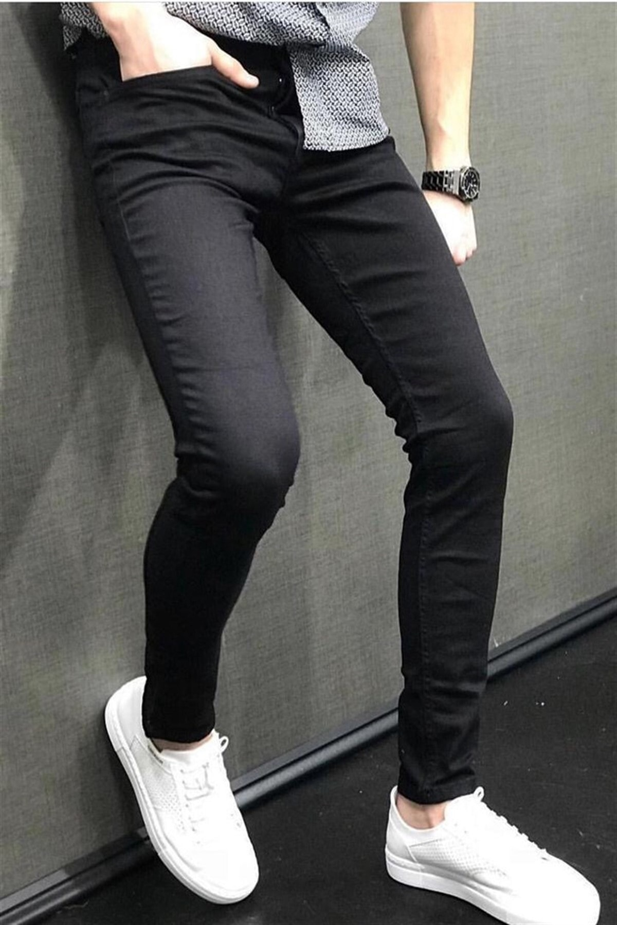 BİNGALLİ JEANS Erkek Siyah Dar Paça Slimfit Pantolon 1