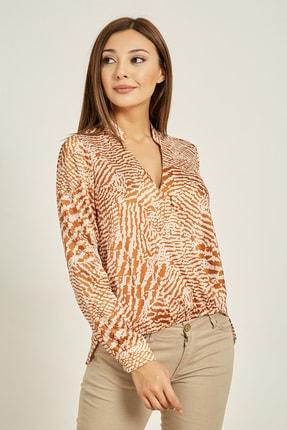 Sateen Kadın Taba Emprime Desen Kruvaze Bluz