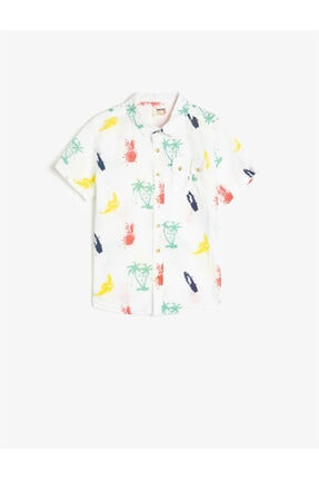 Koton Erkek Çocuk Beyaz Pamuklu Tropikal Baskılı Kısa Kollu Gömlek