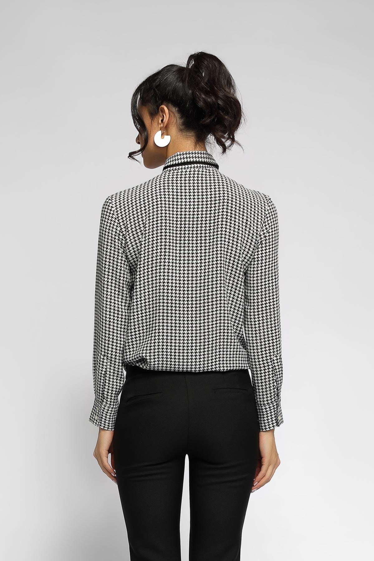 Happysoul Kadın Siyah Kazayağı Desen Dökümlü Gömlek 2