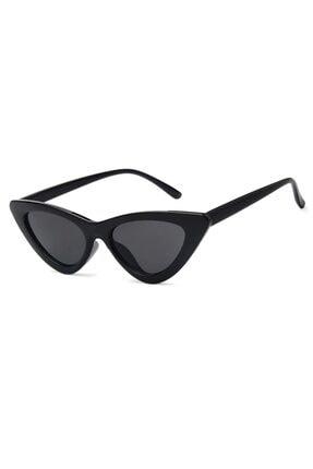 Hane14 Retro Üçgen Cat Eye Siyah Güneş Gözlüğü