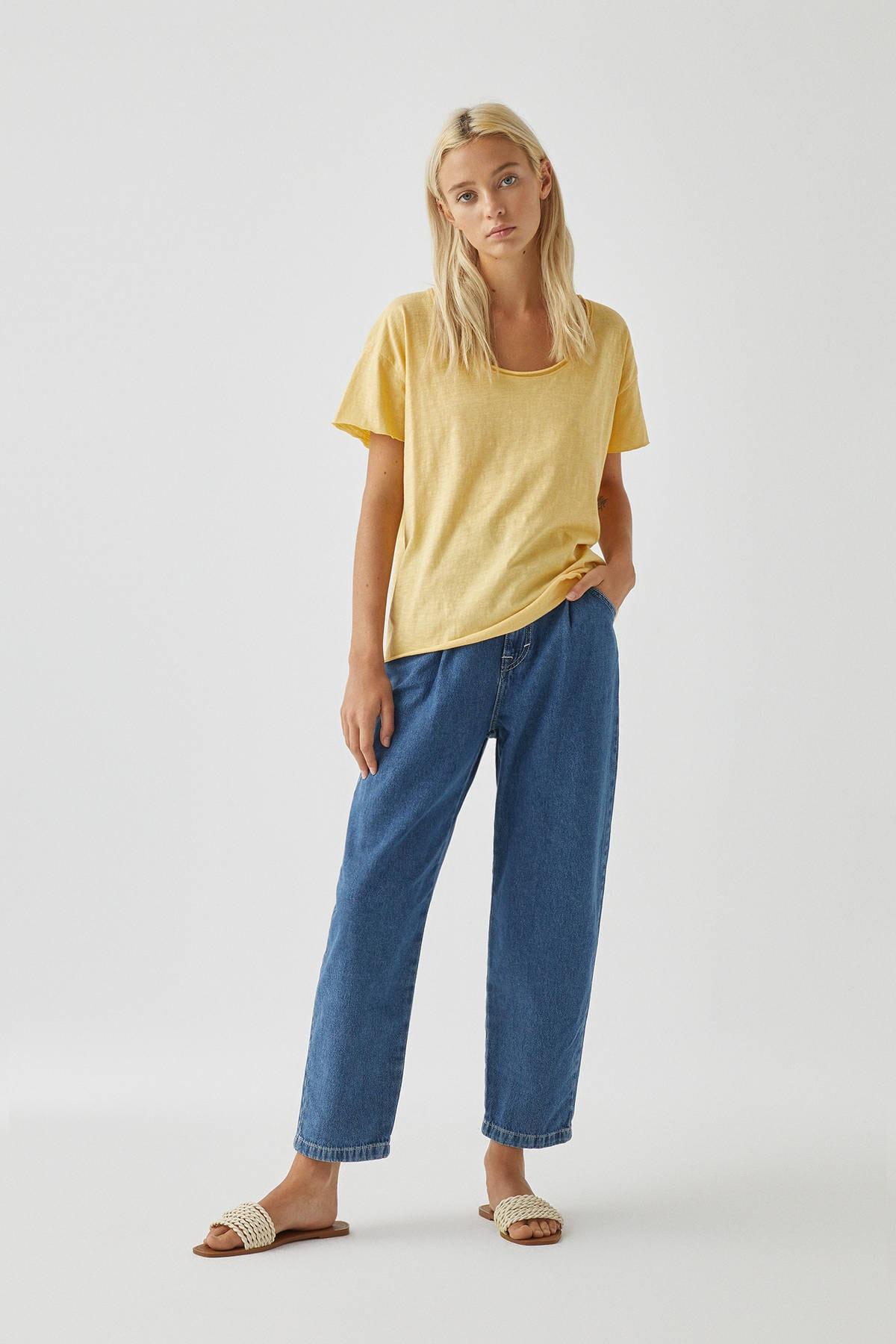 Pull & Bear Kadın Açık Sarı Biyeli Dikişli Basic T-Shirt 05236307 2