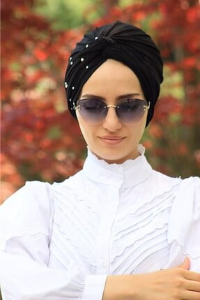 Sahra Şal Dünyası Incili Hazır Modelli Olmayan Dolama Bone Siyah Renk