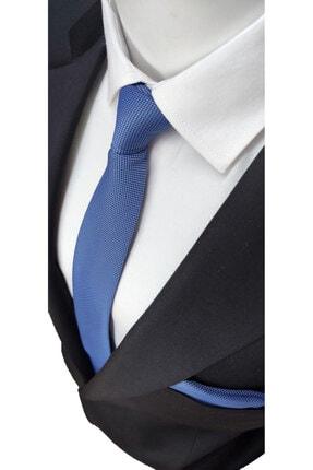 Elegante Cravatte Indigo Mavi Renginde Armürlü Dokuma Kravat Ve Mendil