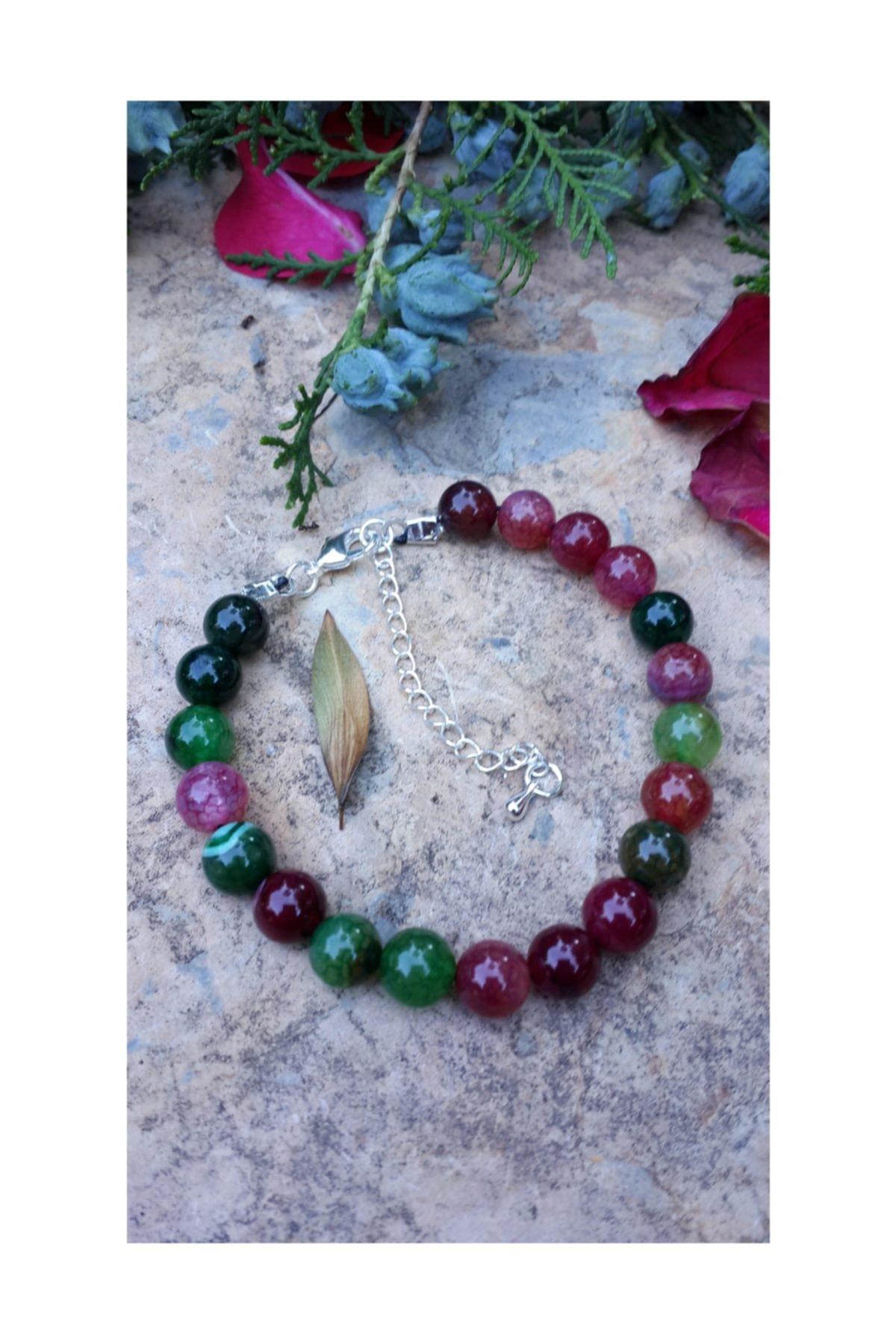 Stoneage Bileklik Kadın İçin Karma Renkli Doğal Taş Akik 1