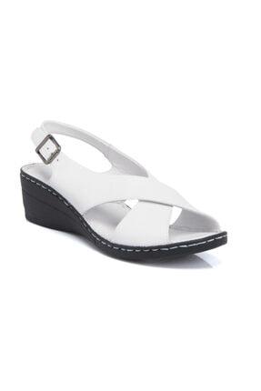 Tergan Kadın  Beyaz Deri Sandalet 64349A26