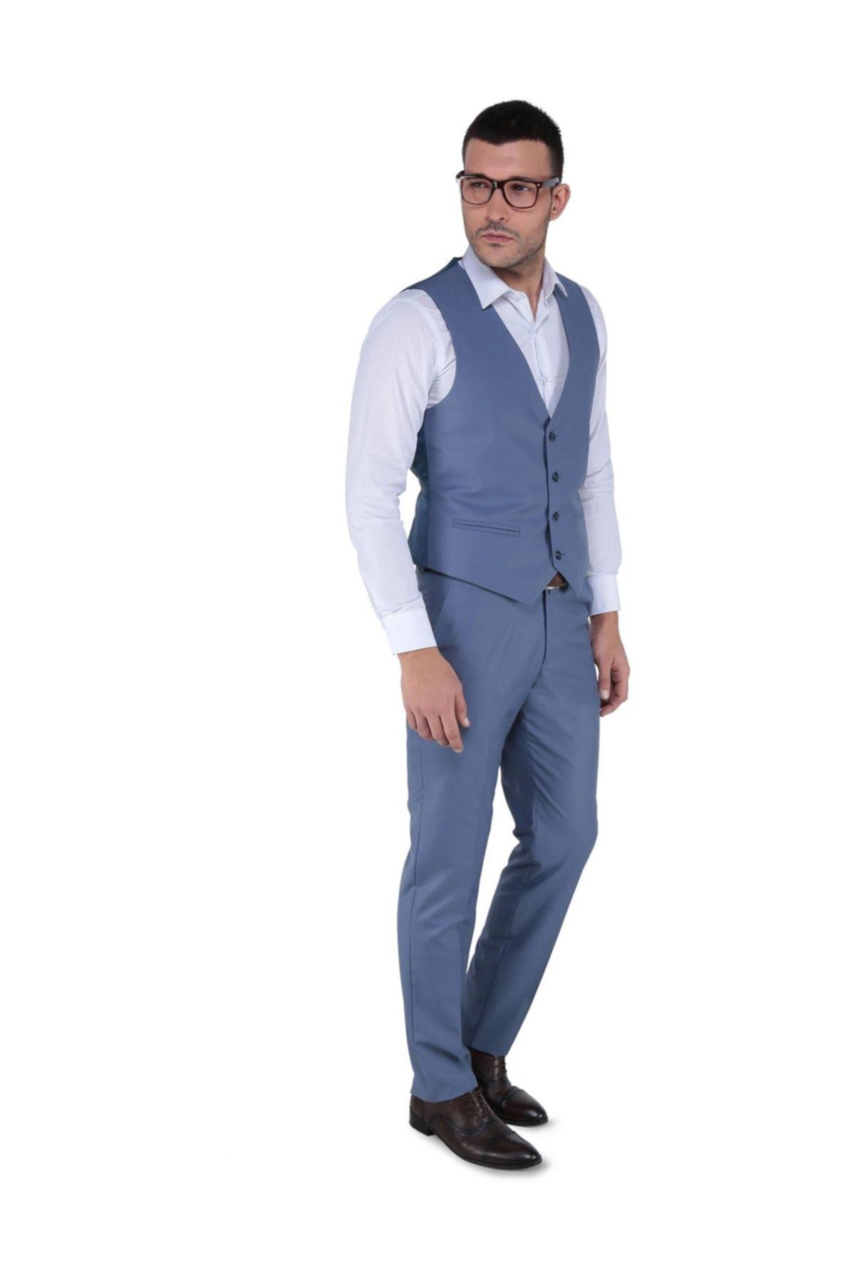 Buenza Erkek Mavi Akf Mono Yelekli Dar Kalıp Takım Elbise-3B5M0434D191 2