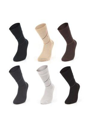Mısırlı 6'lı Modal Desenli Dikişsiz Erkek Çorap - Karışık/asorti - M1800