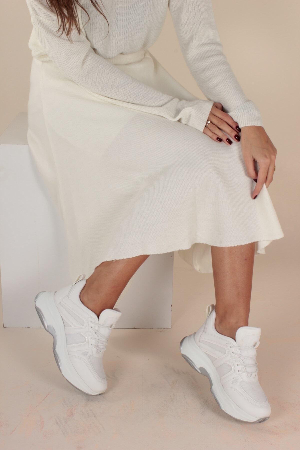 İnan Ayakkabı Kadın Beyaz File Yürüyüş Ayakkabısı 1