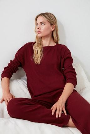 TRENDYOLMİLLA Bordo Kaşkorse Pijama Takımı THMAW21PT0009