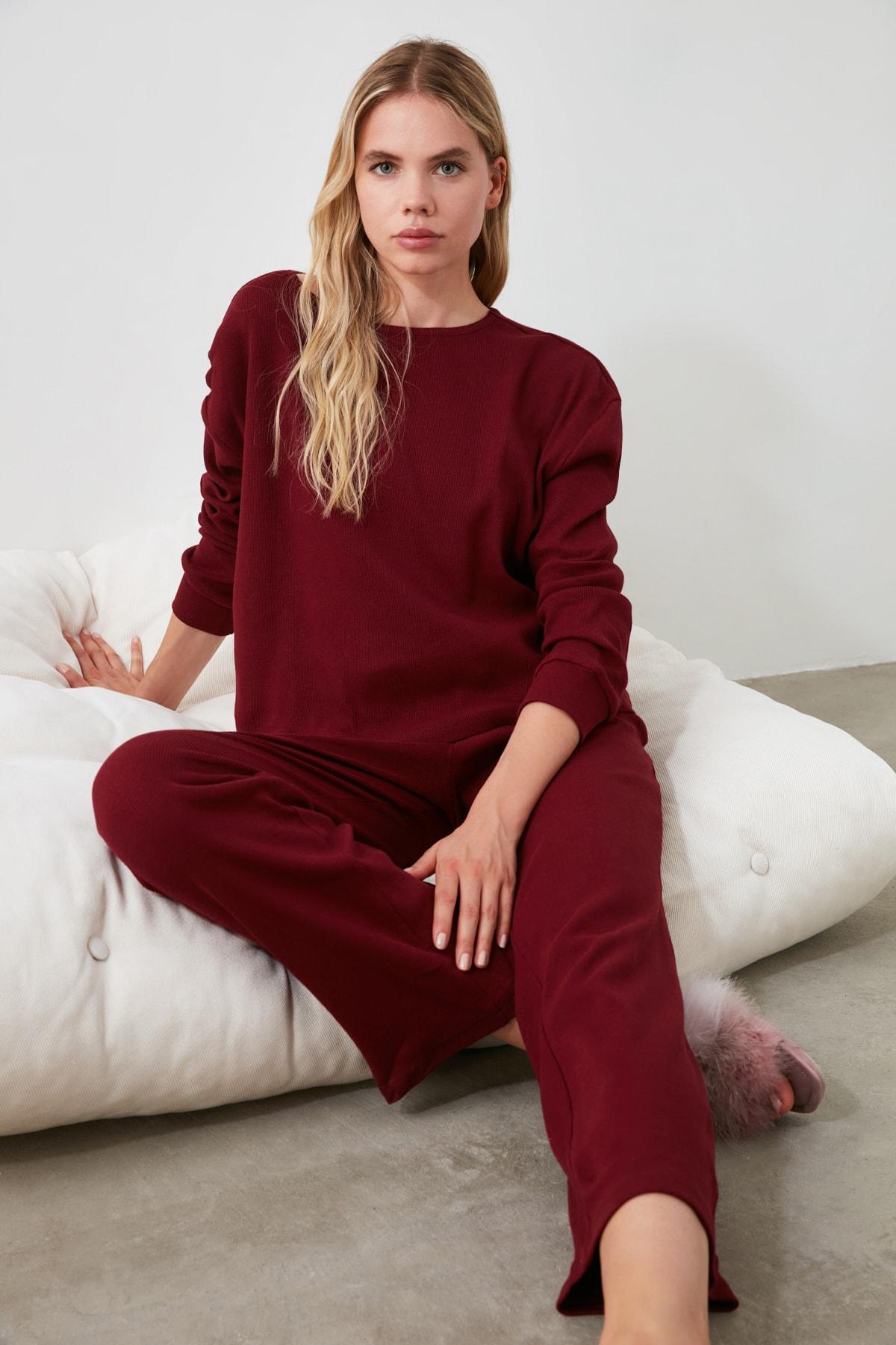 TRENDYOLMİLLA Bordo Kaşkorse Pijama Takımı THMAW21PT0009 2