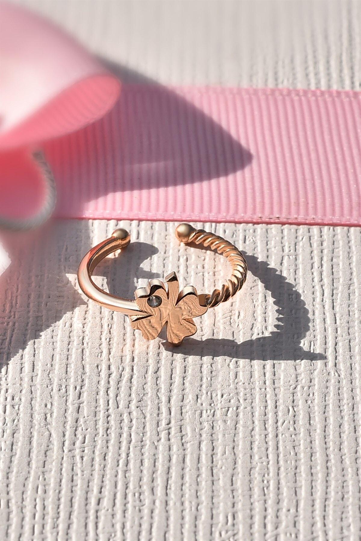 jelux silver Ayarlanabilir Yonca Model Rose Gümüş Yüzük 1