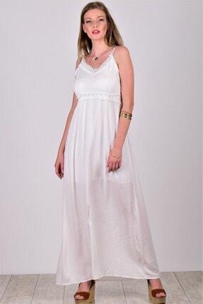 Womenice Kadın Ekru Güpür Detay İnce Askılı Krinkıl Elbise
