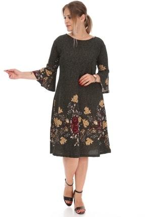 Alesia Kadın Çiçek Desenli Volan Kol Elbise