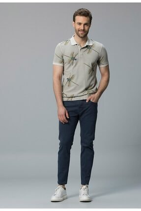 Lufian Erkek Bej Poros Smart Polo Yaka T-shirt
