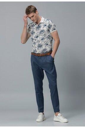 Lufian Erkek Beyaz Çiçek Desenli Polo Yaka T-shirt