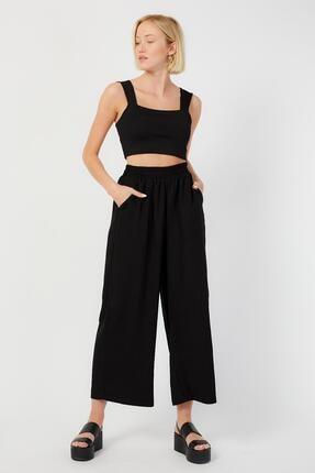 LAMODEMAPASS Kadın Siyah Dökümlü Culotte Pantolon