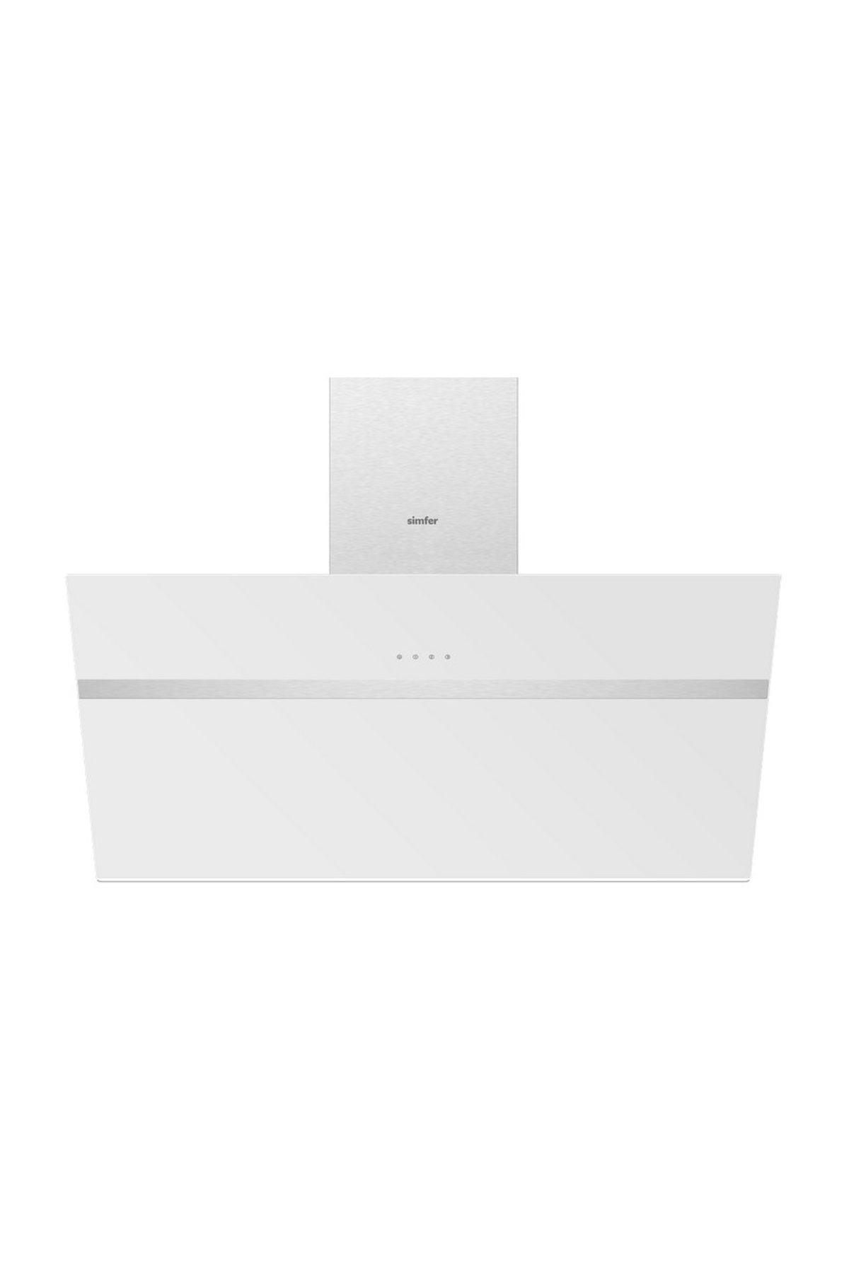 Simfer 8912 90 cm Beyaz Eğik Cam Davlumbaz 1