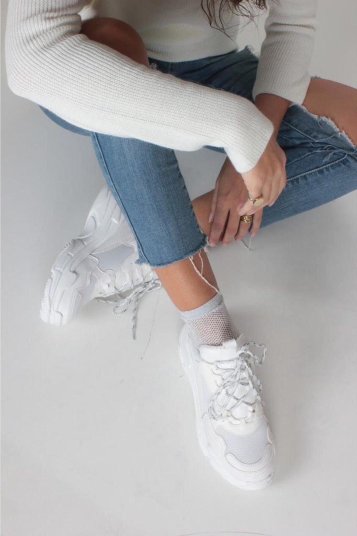 İnan Ayakkabı Kadın Beyaz Cilt Spor Ayakkabı Y5623 2