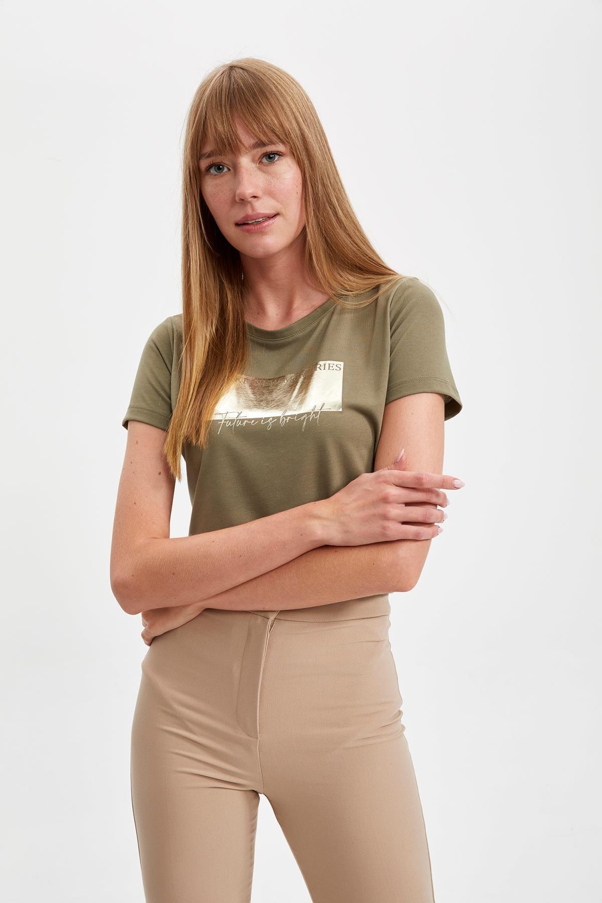 DeFacto Kadın Haki Baskılı Kısa Kollu Tişört S7105AZ20SM