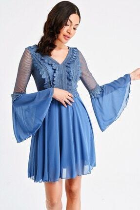 By Saygı Kadın Mavi Üstü Dantel Volanlı Şifon Elbise