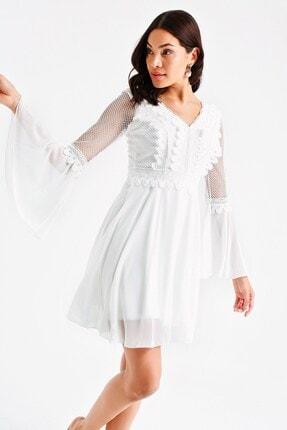 By Saygı Kadın Ekru Üstü Dantel Volanlı Şifon Elbise