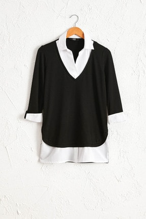 LC Waikiki Kadın Yeni Siyah Tişört 0WI055Z8