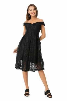 Sateen Kadın Siyah Düşük Omuz Dantel Elbise