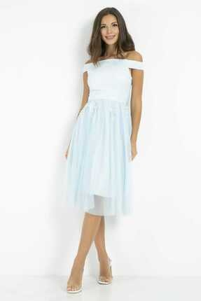 Sateen Kadın Mavi Dantelli Midi Tül Elbise