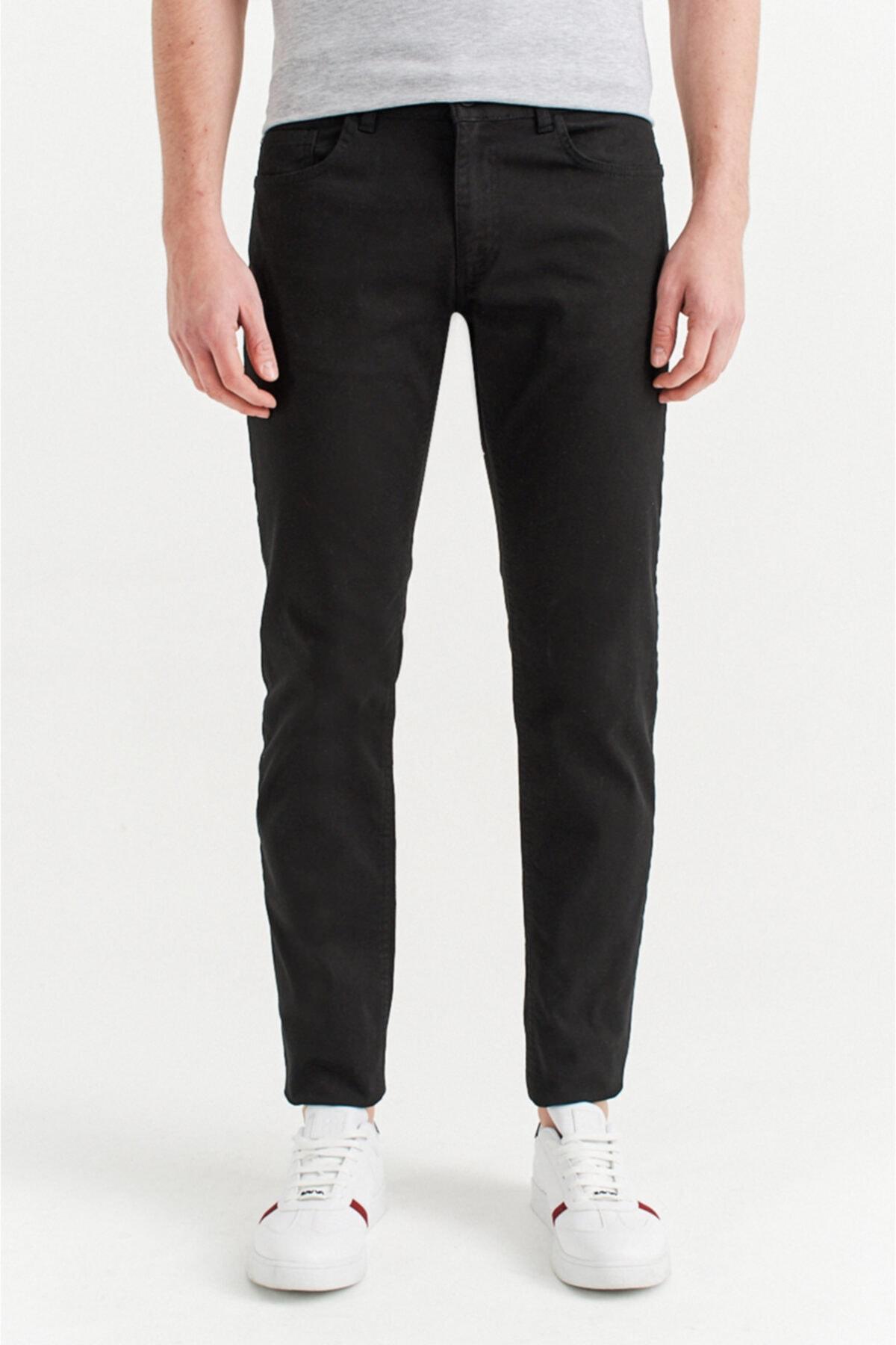 Avva Erkek Siyah 5 Cepli Armürlü Slim Fit Pantolon A92y3086 1