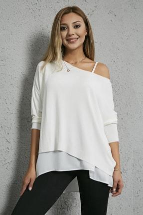 Sateen Kadın Beyaz Askılı Bluz Detay Triko Kazak