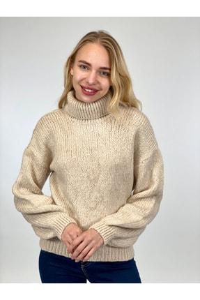 Miss Poem Kadın Taş Rengi Balıkçı Yaka Kazak 32765