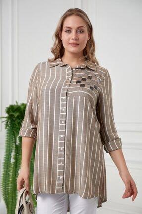 RMG Kadın Haki Pul Payetli Çizgili Büyük Beden Gömlek