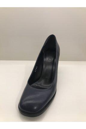 İnci Kadın Lacivert Kalın Topuklu Ayakkabı