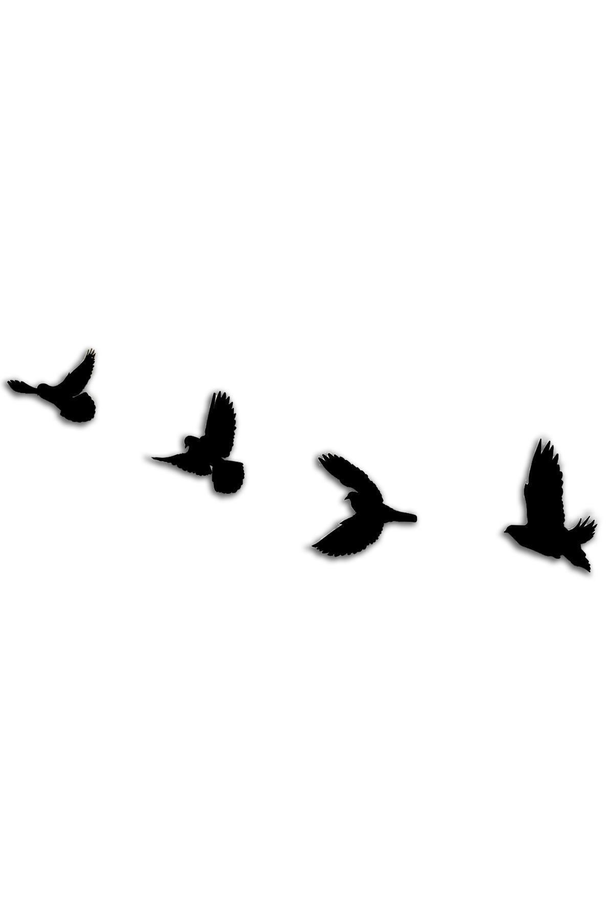 Dekolia Ahşap Dörtlü Kuş Duvar Süsü Lazer Kesim Duvar Dekoru Art1233 2