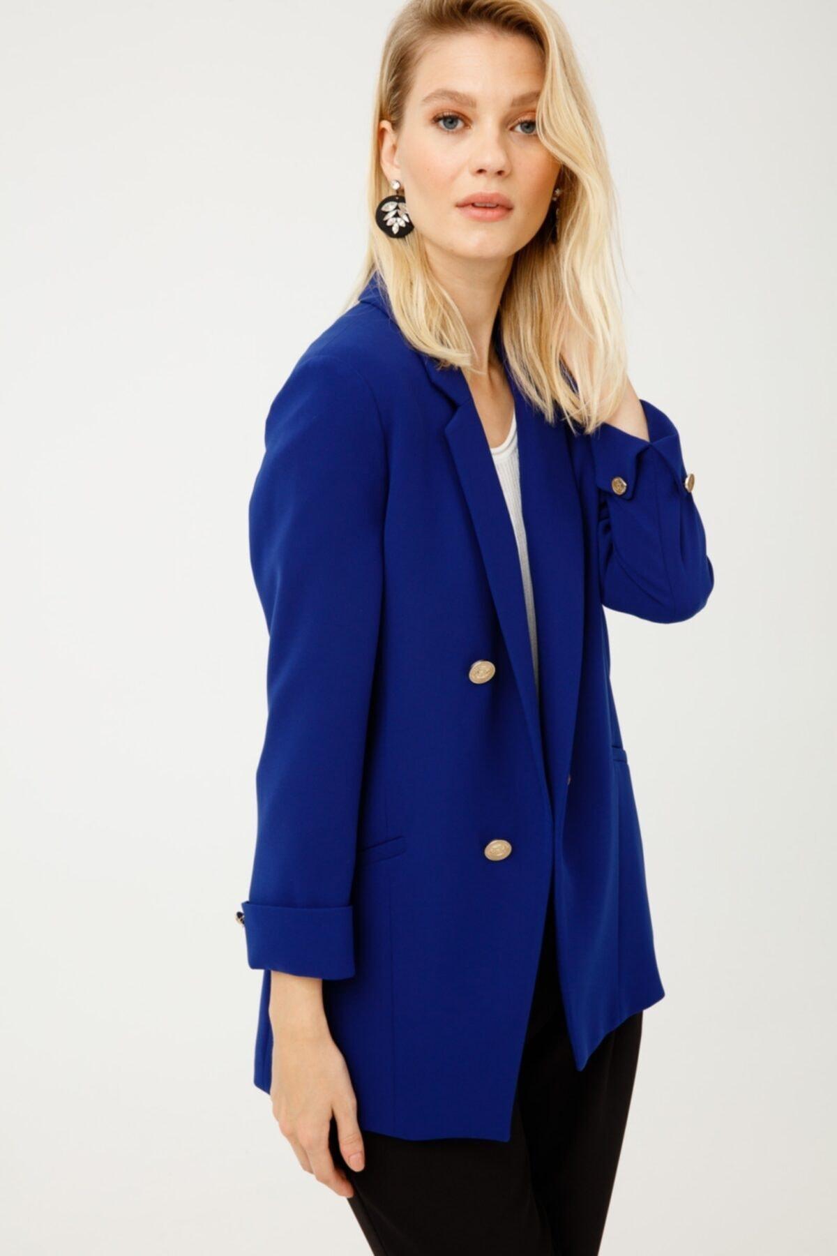Ekol Kadın Lacivert Düğmeli Blazer Ceket 1