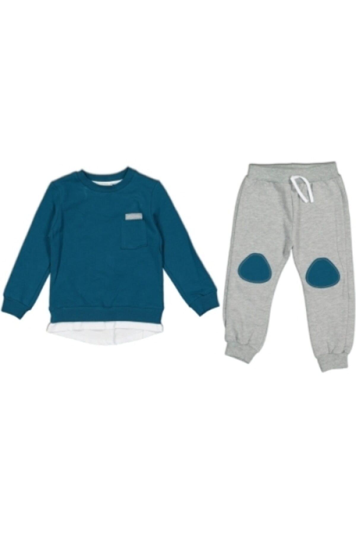 CİVELEK Erkek Bebek Mavi Gri  Alt Üst Takım 1