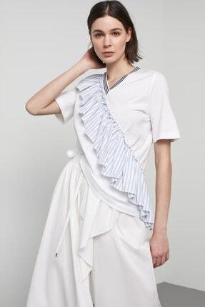 Machka Kadın Beyaz Poplin Garnili Diagonal Fırfırlı T-shirt
