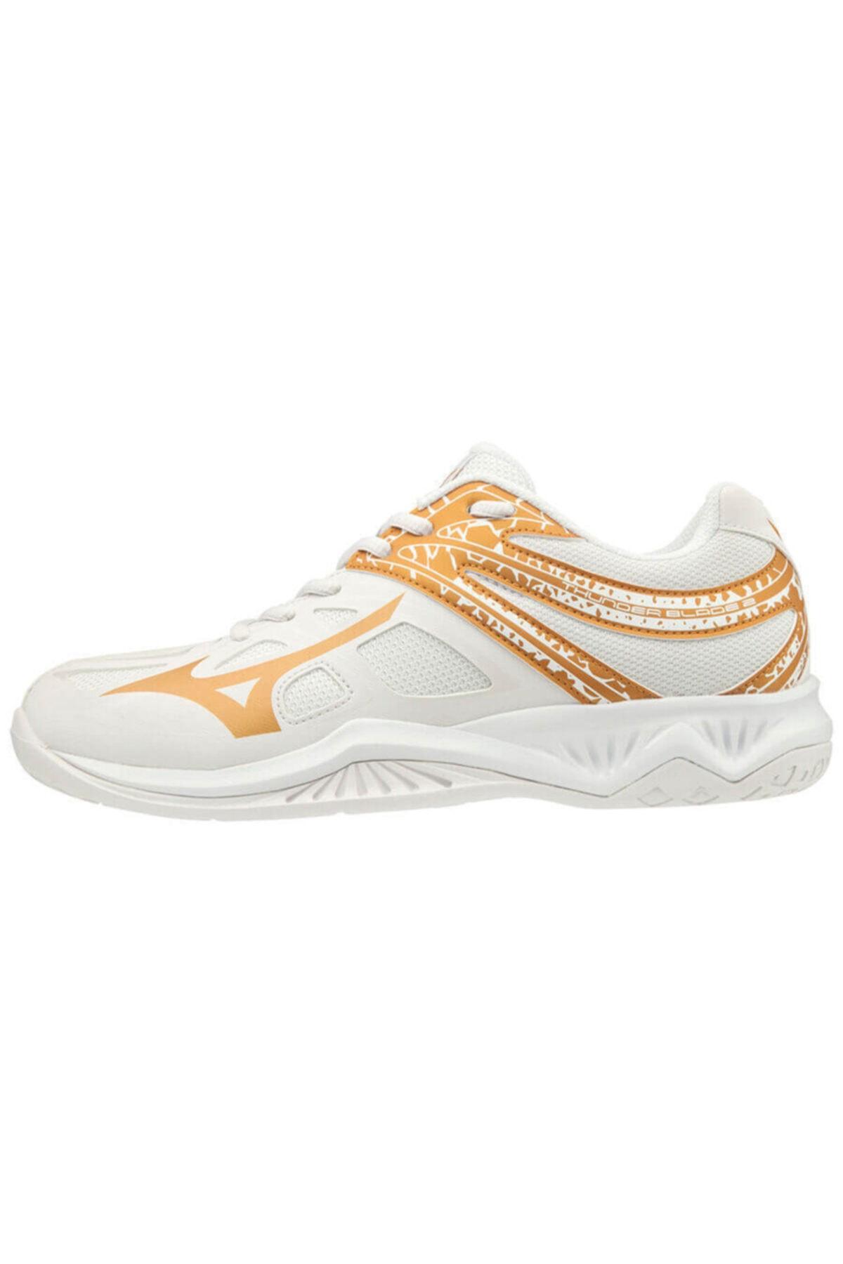 MIZUNO Unısex Beyaz Altın Voleybol Ayakkabısı 1