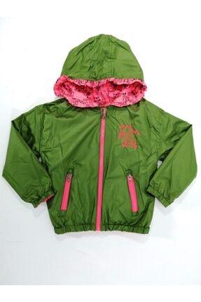 Midimod Kız Çocuk Yeşil Pembe Yağmurluk Trençkot