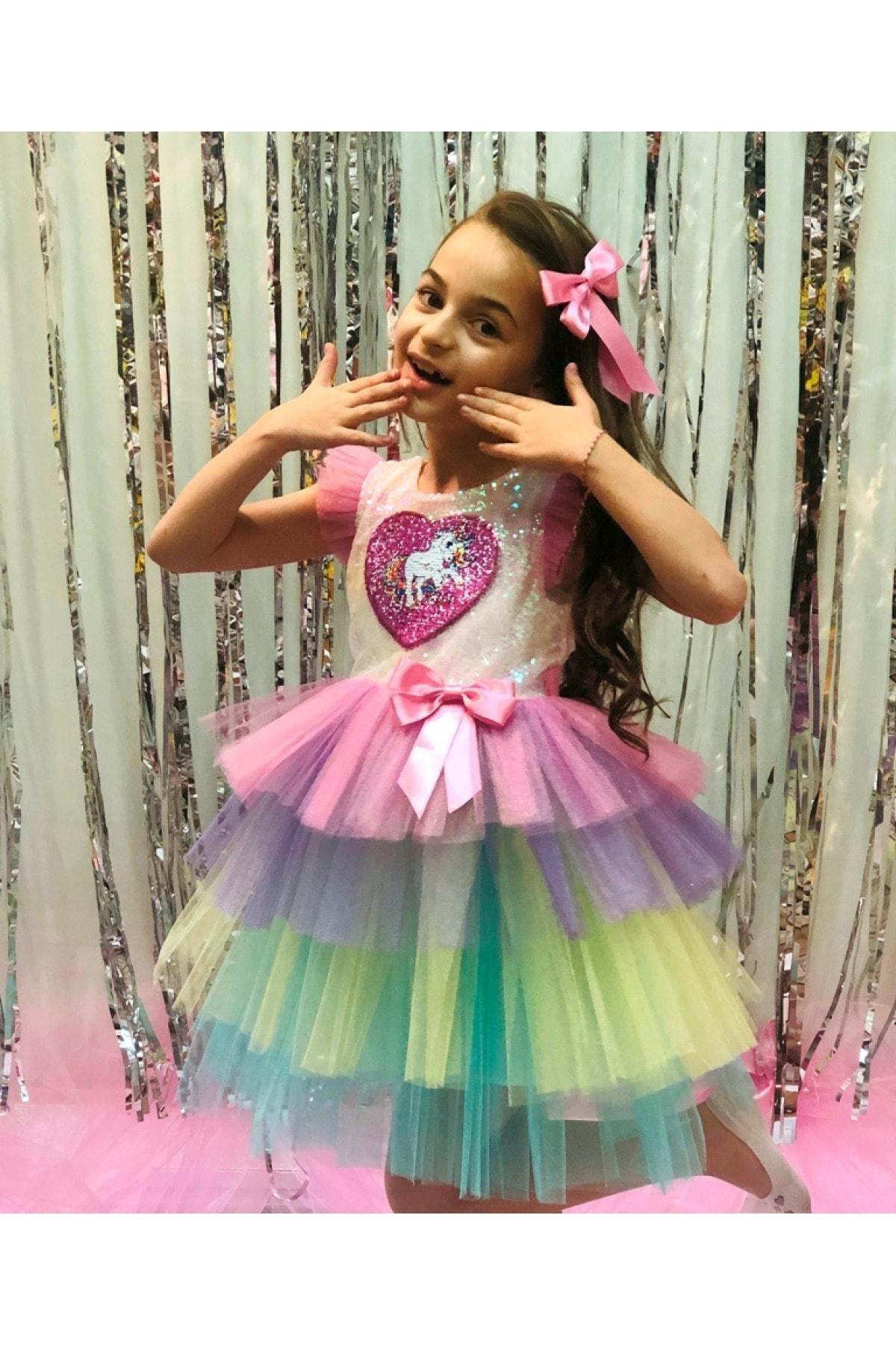 Buse&Eylül Bebe Unicorn Pul Payet Tütü Etekli Kız Çocuk Parti Elbisesi 2