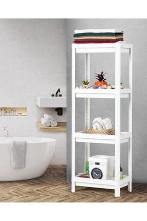 CNS HOME 4 Katlı Pratik Banyo Mutfak Balkon Raf Ünitesi Beyaz