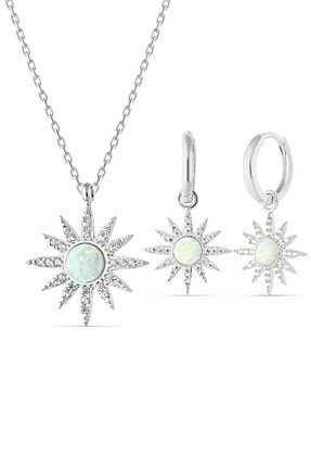 MySilvers Beyaz Opal Taşlı Gümüş Set