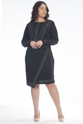 Şans Kadın Siyah Taş İşli Elbise 65N18990